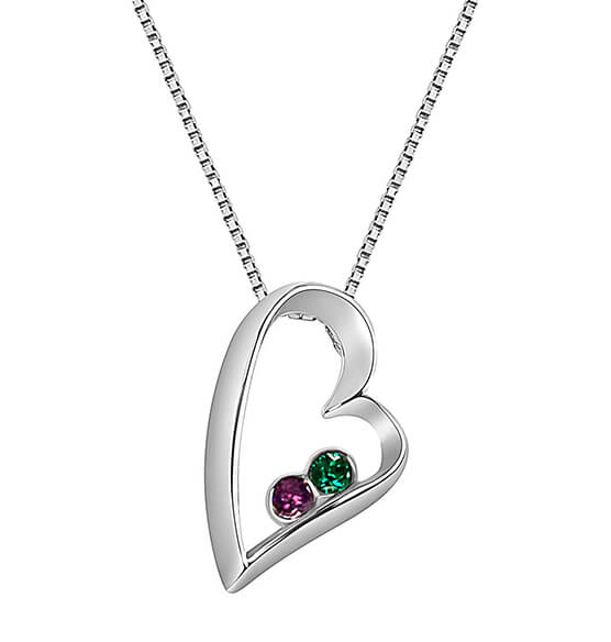 Sterling Silver Open Heart Birthstone Pendant Necklace - View 3