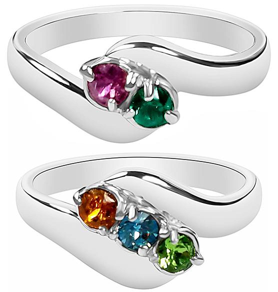 Birthstone Crystals Bypass Ring - View 2