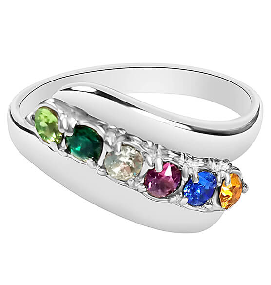 Birthstone Crystals Bypass Ring - View 5