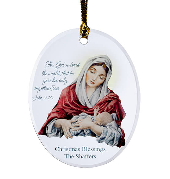 Personalized Mary and Jesus Ornament - View 2