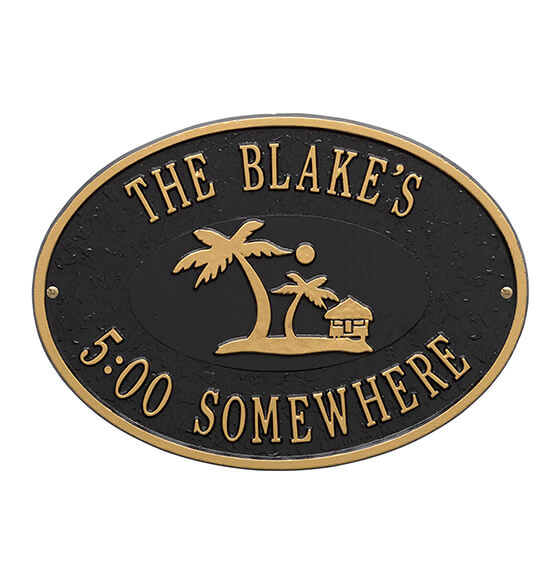 Personalized Island Time Palm Deck Plaque - View 2