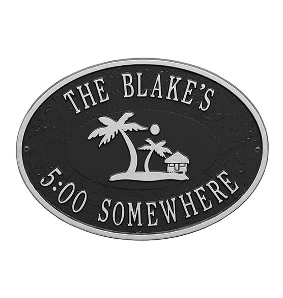 Personalized Island Time Palm Deck Plaque - View 3