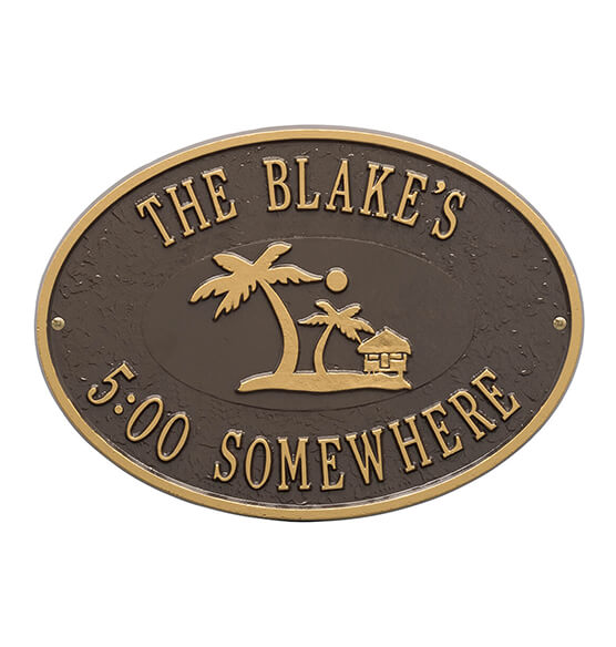 Personalized Island Time Palm Deck Plaque - View 4