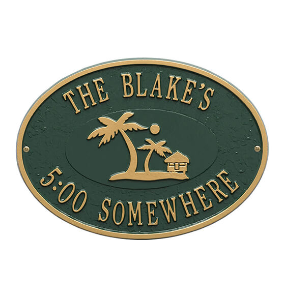 Personalized Island Time Palm Deck Plaque - View 5