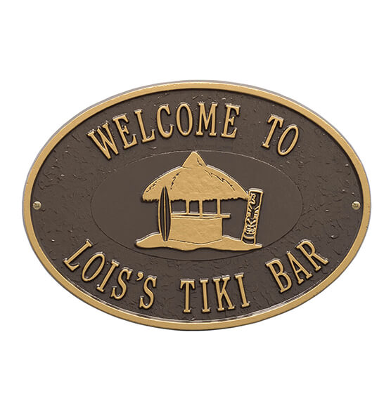 Personalized Tiki Hut Deck Plaque - View 4