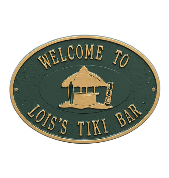 Personalized Tiki Hut Deck Plaque - View 5