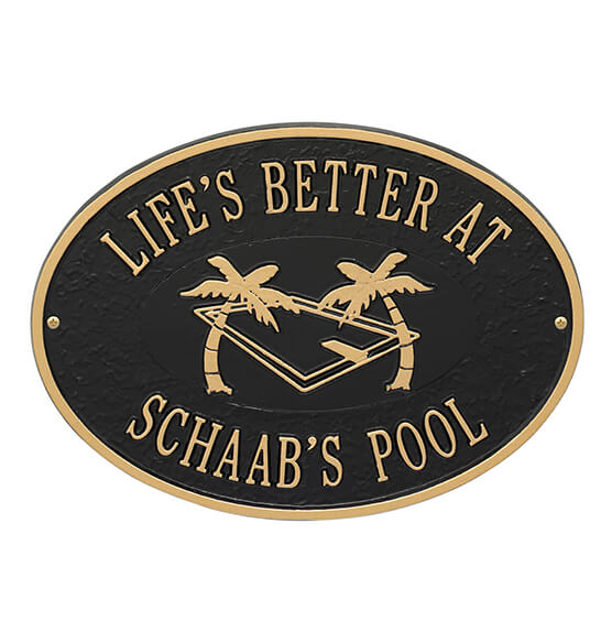 Personalized Swimming Pool Party Deck Plaque - View 2