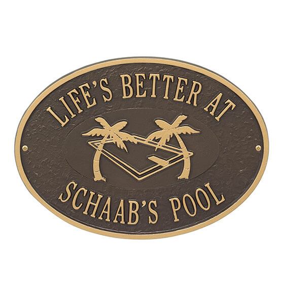 Personalized Swimming Pool Party Deck Plaque - View 4