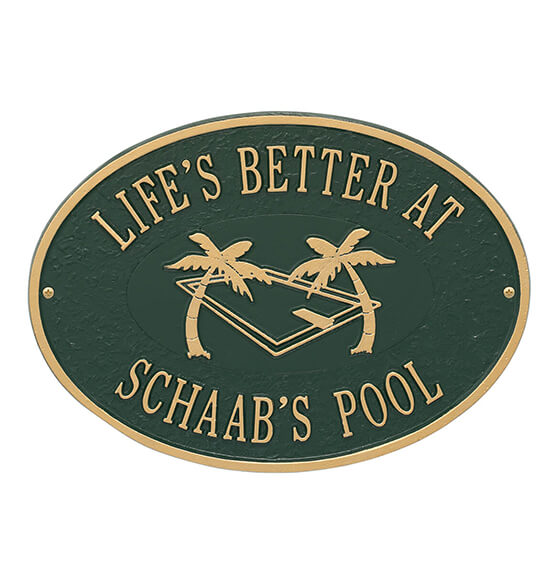 Personalized Swimming Pool Party Deck Plaque - View 5