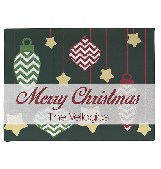 Personalized Merry Christmas Ornaments Doormat - View 2
