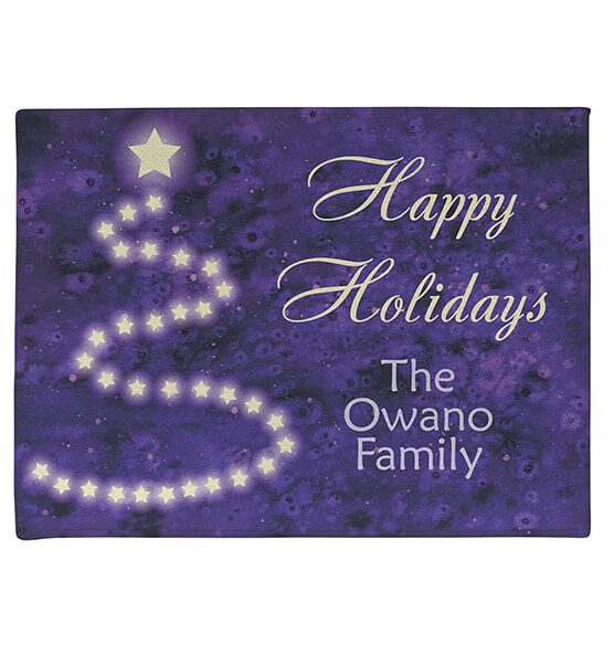 Personalized Happy Holidays Star Tree Doormat - View 2