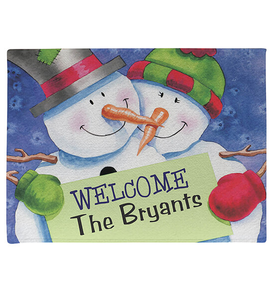 Personalized Welcome Snowcouple Doormat - View 2