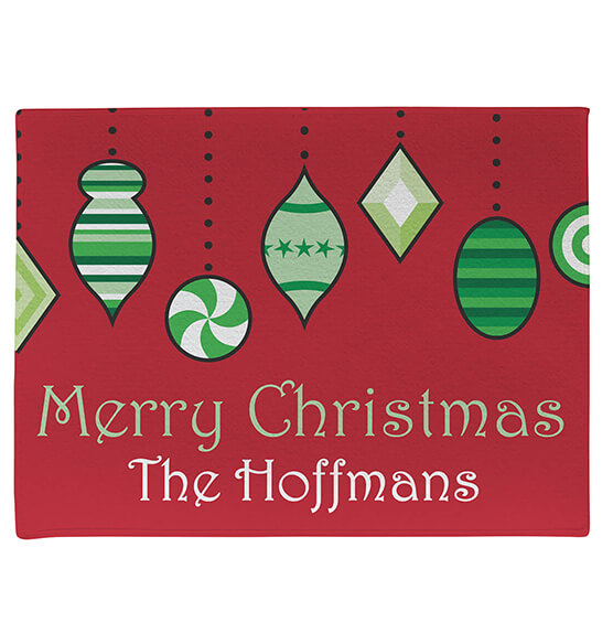 Personalized Merry Christmas Ornament Doormat - View 2
