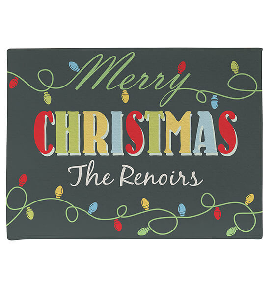 Personalized Merry Christmas Light Bulb Doormat - View 2