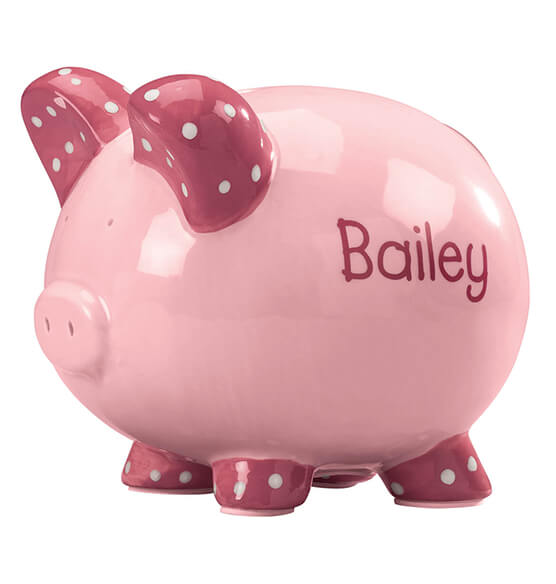 Personalized Kid's Whimsical Piggy Bank - View 3