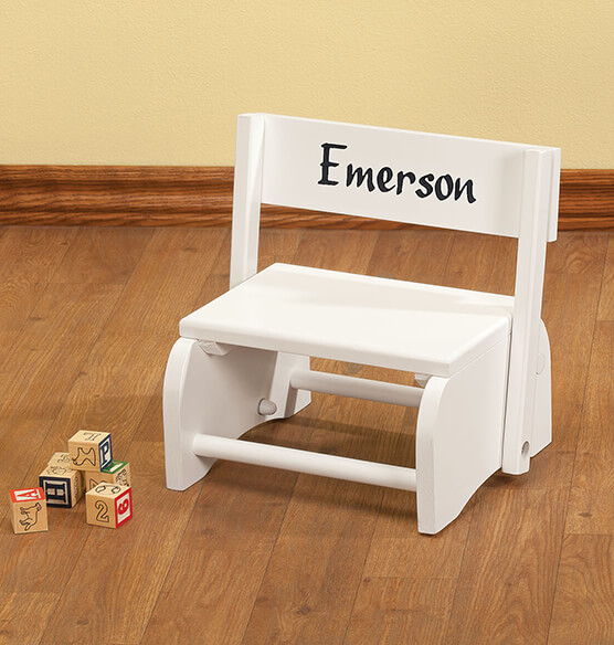 Personalized White Wooden 2-in-1 Chair and Stepstool - View 2