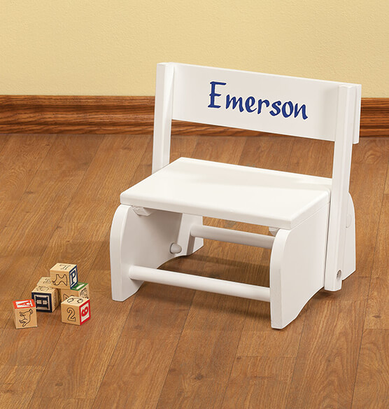 Personalized White Wooden 2-in-1 Chair and Stepstool - View 3