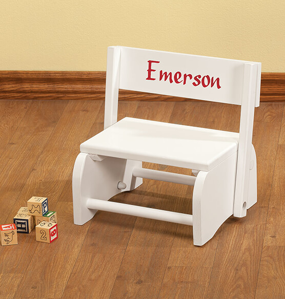 Personalized White Wooden 2-in-1 Chair and Stepstool - View 4