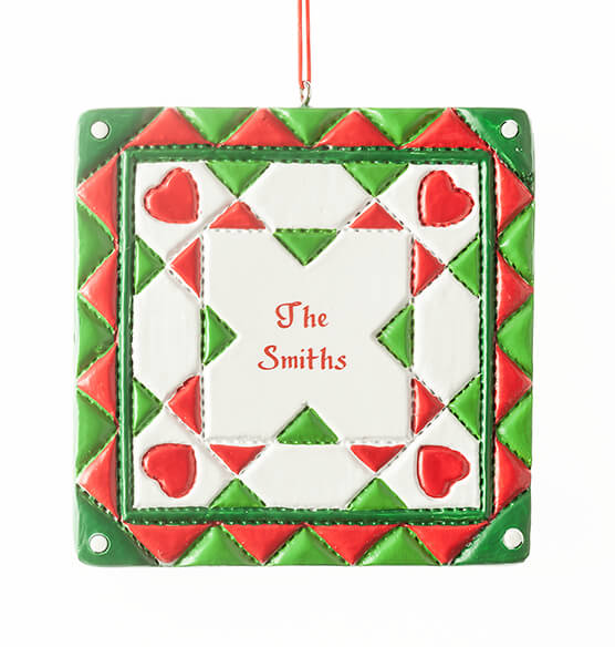 Personalized Christmas Quilt Square Ornament - View 2