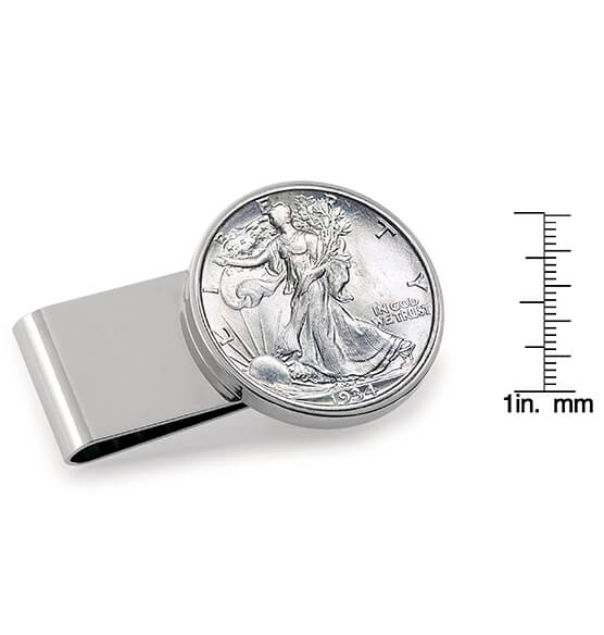 Monogram Walking Liberty Half-Dollar SS Money Clip - View 3