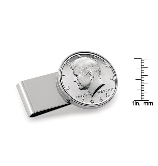 Monogram Genuine JFK Half-Dollar Coin Money Clip - View 3