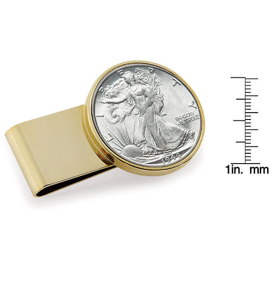 Monogram Walking Liberty Coin Goldtone Money Clip - View 3