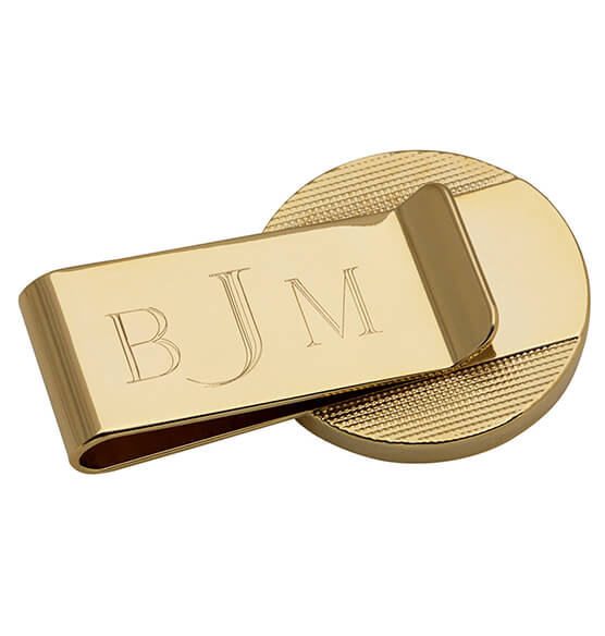 Monogrammed Presidential Half Dollar SS Goldtone Money Clip - View 2