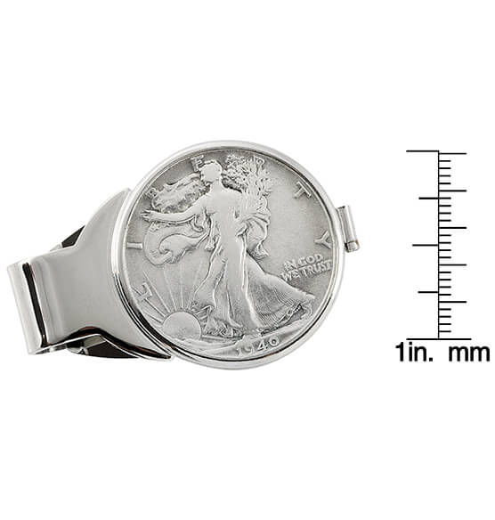 Walking Liberty Half-Dollar Monogram Money Clip - View 3