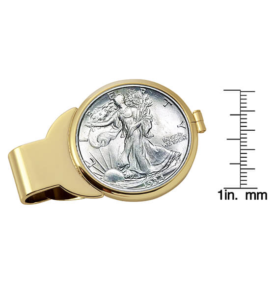 Walking Liberty Half-Dollar Goldtone Money Clip - View 3