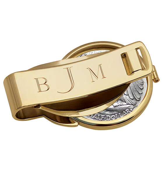 Monogrammed JFK Half Dollar Goldtone Coin Money Clip - View 2