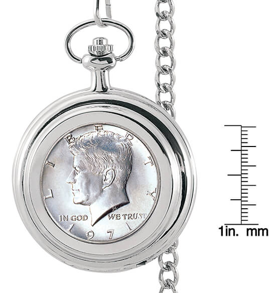 Monogrammed JFK Half Dollar Coin Pocket Watch - View 4