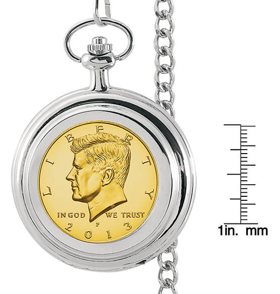 Gold-Layered JFK Half-Dollar Monogrammed Pocket Watch - View 4
