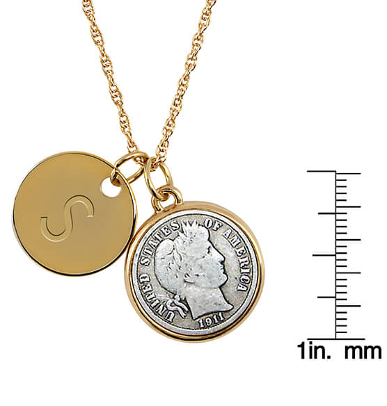Silver Barber Dime Coin Goldtone Pendant Necklace - View 3