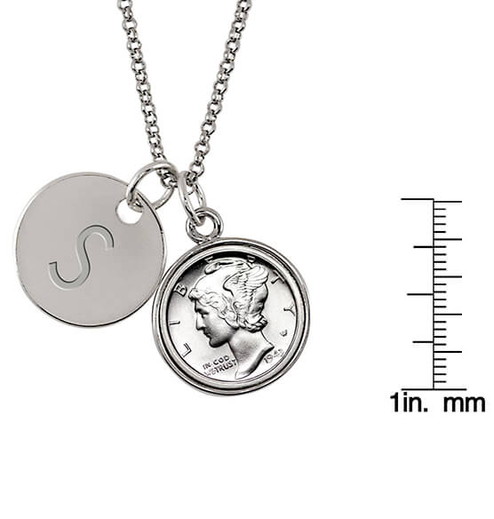 Silver Mercury Dime Coin Personalized Pendant Necklace - View 3
