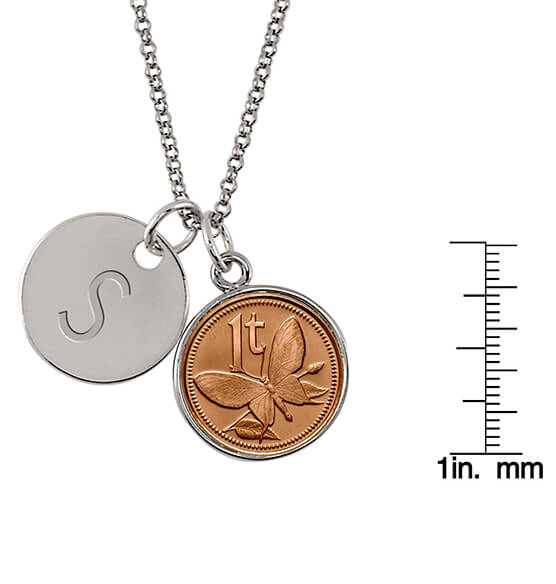 New Guinea Butterfly Coin Personalized Pendant Necklace - View 3