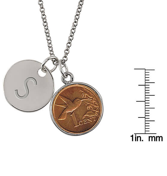 Hummingbird Coin Personalized Pendant Necklace - View 3
