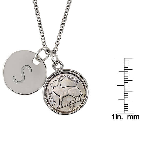 Irish Threepence Rabbit Coin Personalized Pendant Necklace - View 3