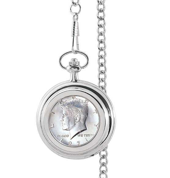 Year To Remember Monogrammed Half Dollar Coin Pocket Watch - View 2