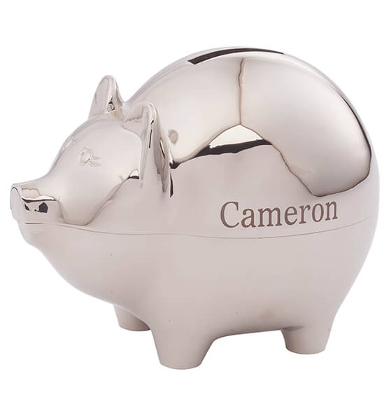 Personalized Silver Plated Piggy Bank - View 2