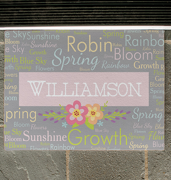 Personalized Spring Words Doormat - View 2