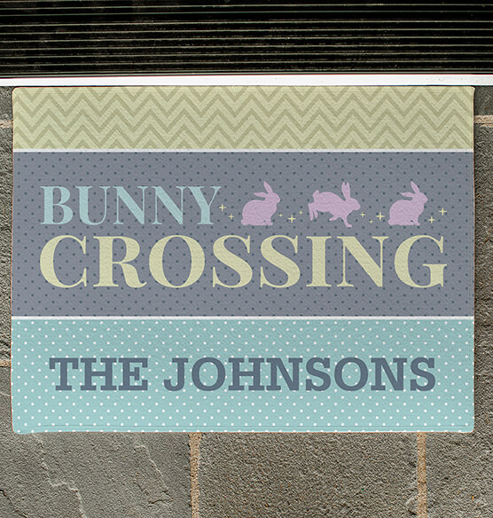Personalized Bunny Crossing Doormat - View 2