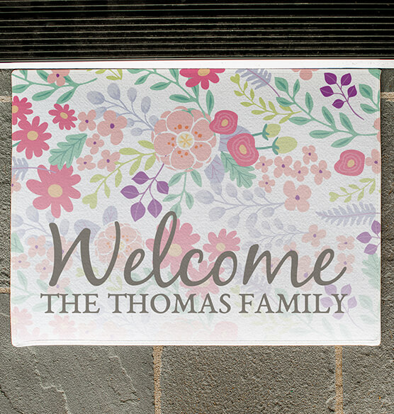 Personalized Floral Family Doormat - View 2