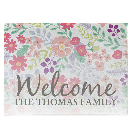 Personalized Floral Family Doormat - View 3