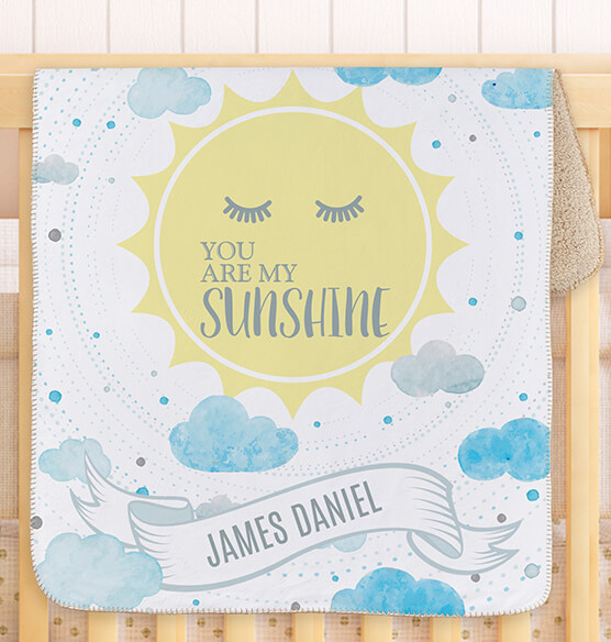 "Personalized You are My Sunshine Baby Sherpa Throw 30""x40"" - View 2"