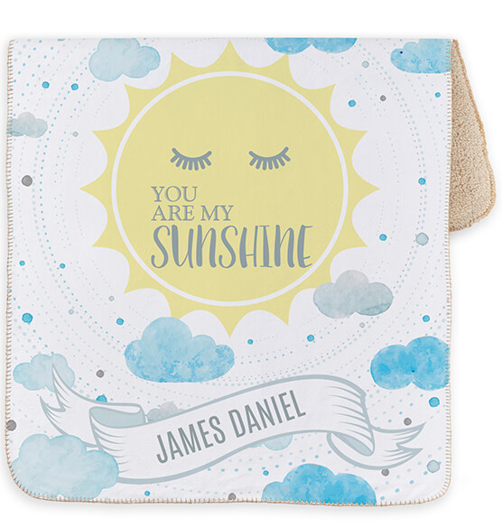 "Personalized You are My Sunshine Baby Sherpa Throw 30""x40"" - View 3"
