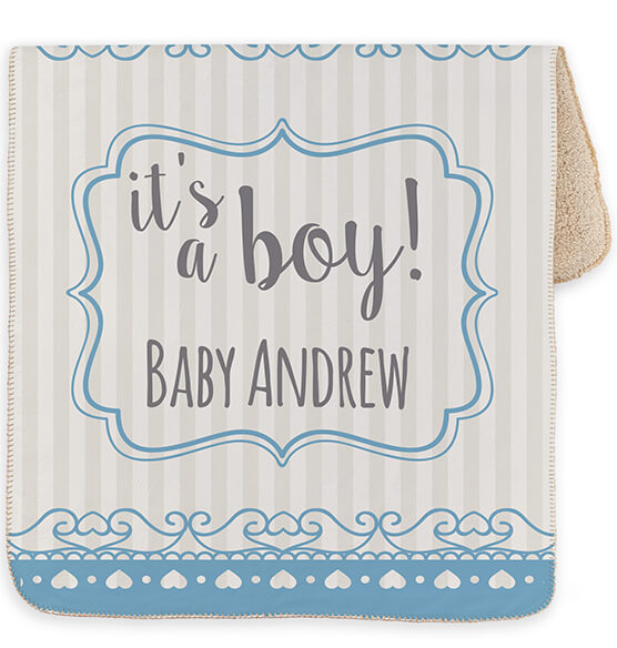 "Personalized It's a Boy! Baby Sherpa Throw, 30"" x 40"" - View 2"