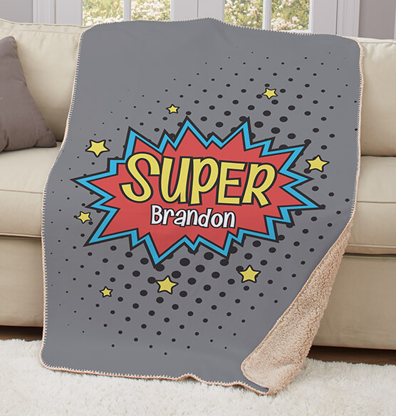 "Personalized Super Hero Sherpa Throw 37""x57"" - View 2"