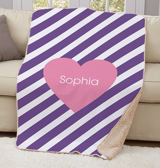 "Personalized Pink Heart Purple Striped Sherpa Throw 37""x57"" - View 3"