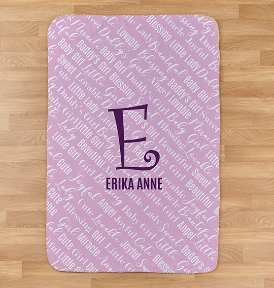 "Personalized Purple Baby Name & Initial Sherpa Blanket, 30"" x 40"" - View 2"