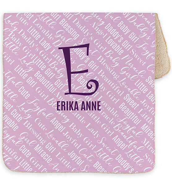 "Personalized Purple Baby Name & Initial Sherpa Blanket, 30"" x 40"" - View 3"